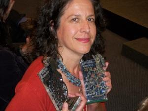 Kaaron Warren with two Ditmar awards