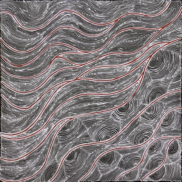 "[Image caption: Valda Napangardi Granites' painting ""Mina Mina Jukurrpa"" © Warlukurlangu Artists Aboriginal Corporation]"